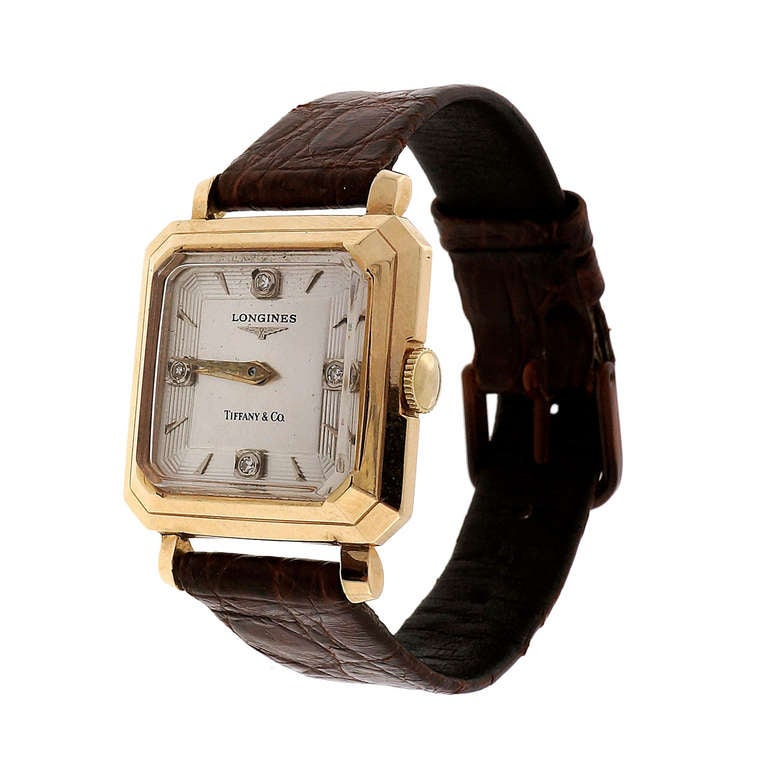 Longines Yellow Gold Wristwatch with Diamond Dial Retailed by Tiffany & Co.