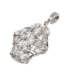 European Cut Diamond Platinum Pendant