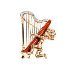 Ruser Angel Harp Diamond Enamel Brooch, circa 1950