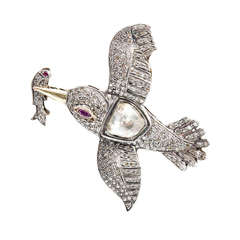 Rose Cut Diamond Swallow Pin