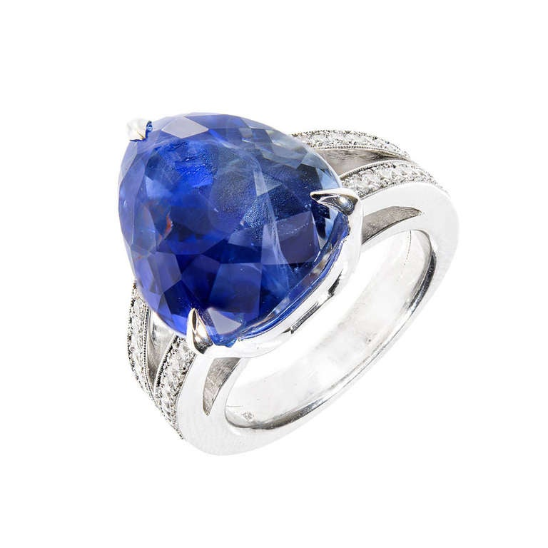 Natural No Heat Ceylon Pear Sapphire And Diamond Ring
