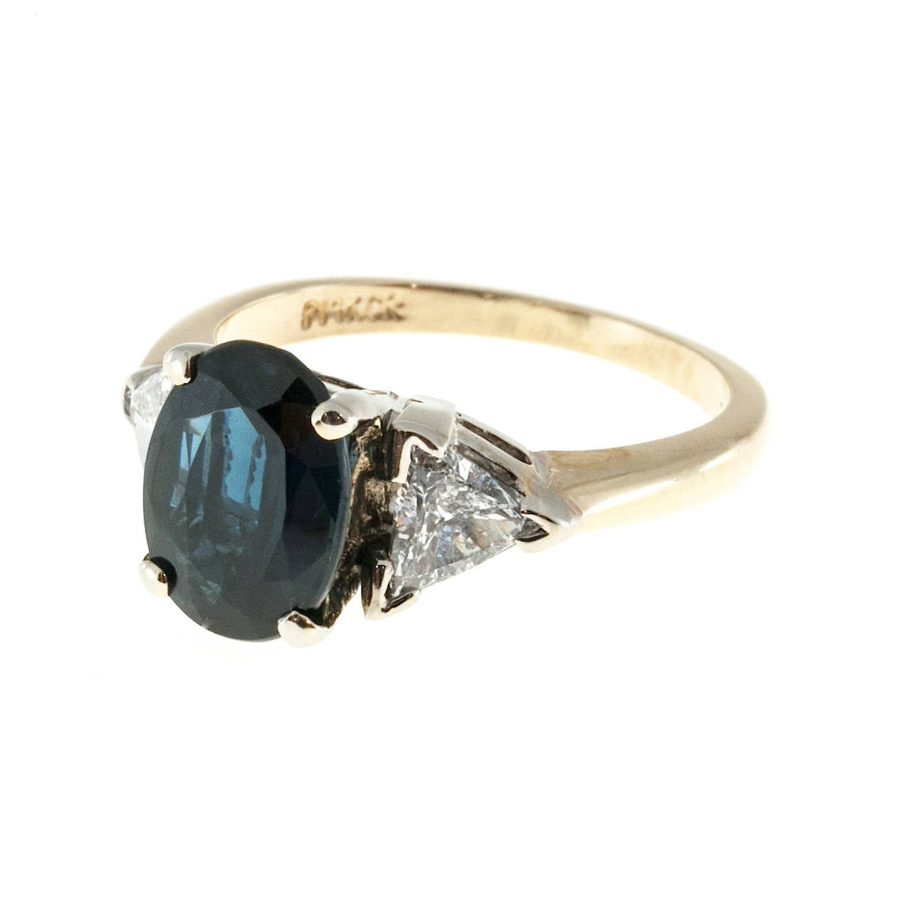 2.53 Carat GIA Cert Royal Blue Sapphire Diamond Two Color Gold Ring 2