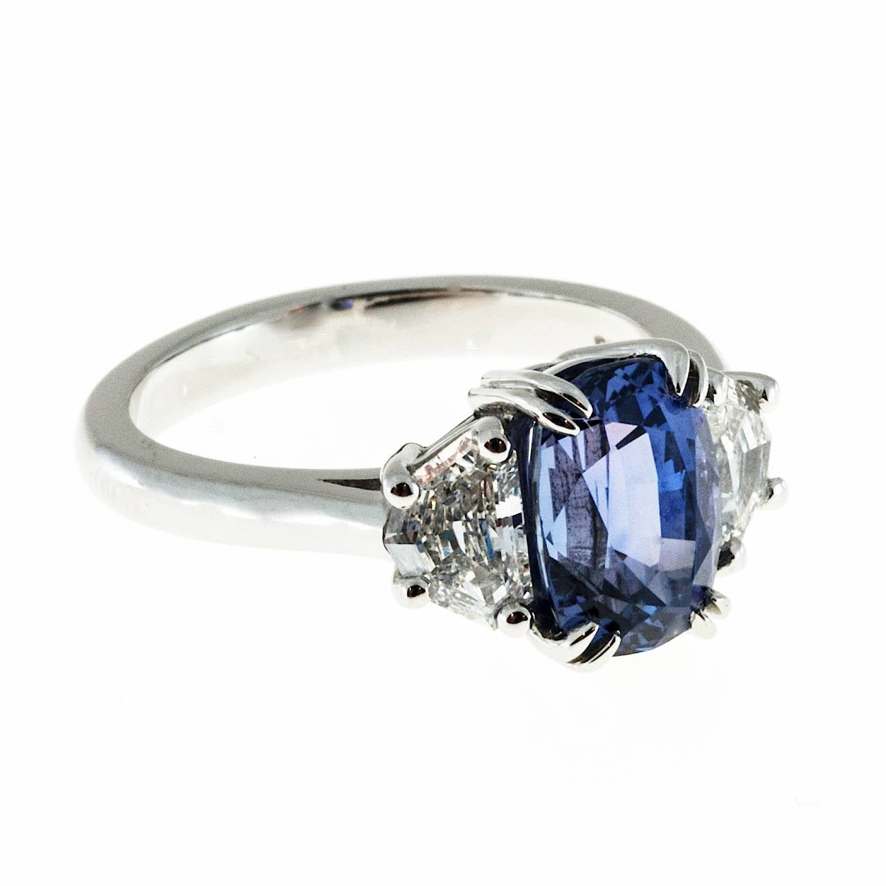 Peter Suchy Gia Cert Violet Purple Sapphire Diamond Platinum Engagement Ring  2