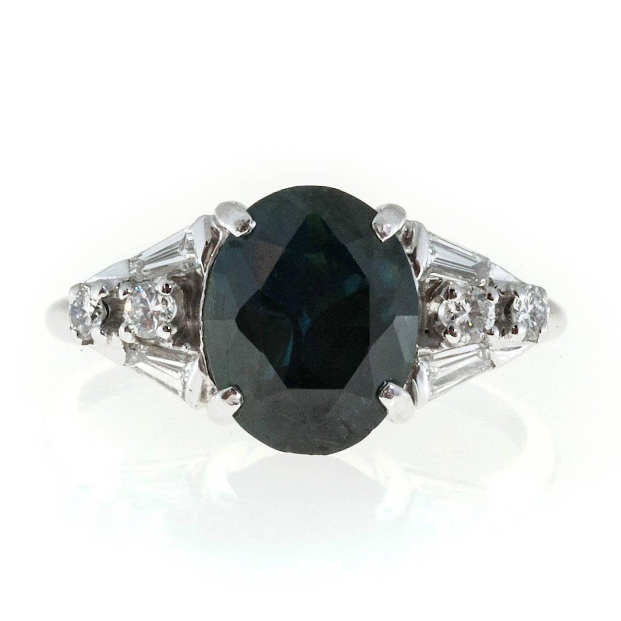 natural dark blue sapphire diamond platinum ring for sale