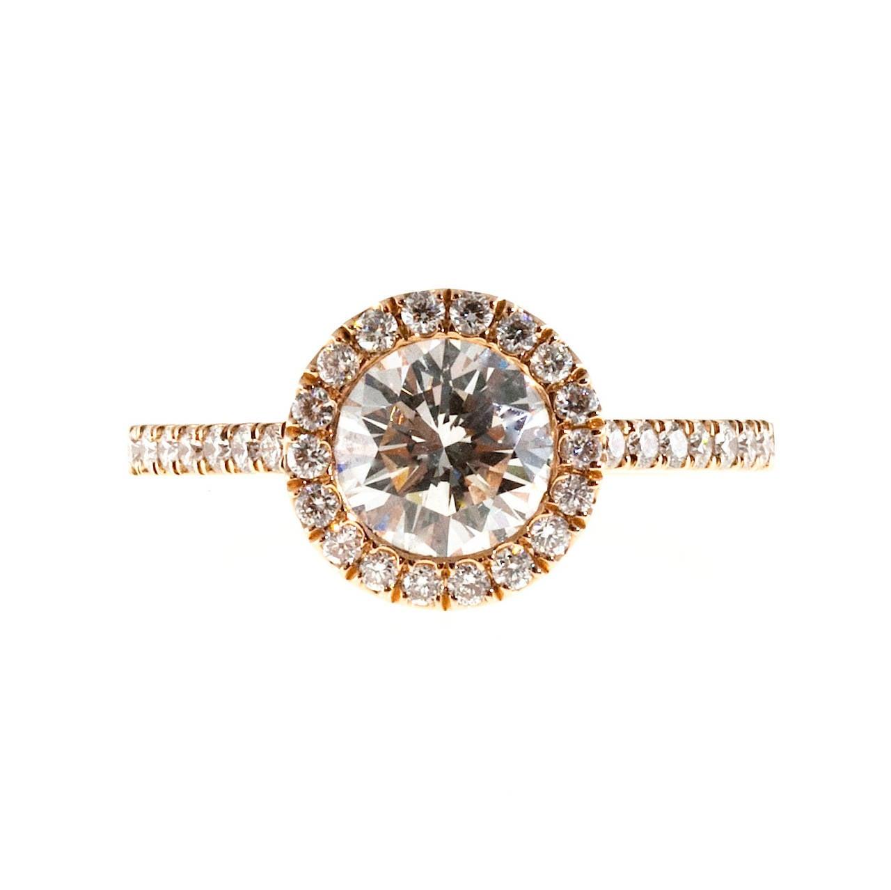 Peter Suchy GIA Certified 1.06 Carat Diamond Halo Rose Gold Engagement Ring 2
