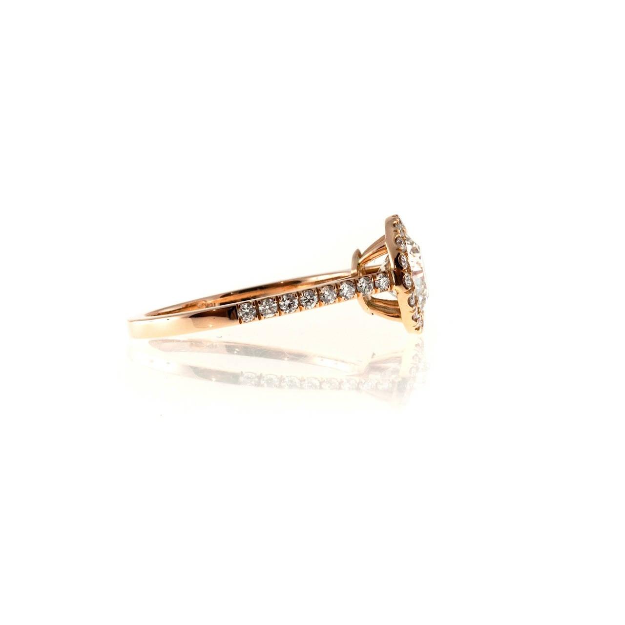 Peter Suchy GIA Certified 1.06 Carat Diamond Halo Rose Gold Engagement Ring 4