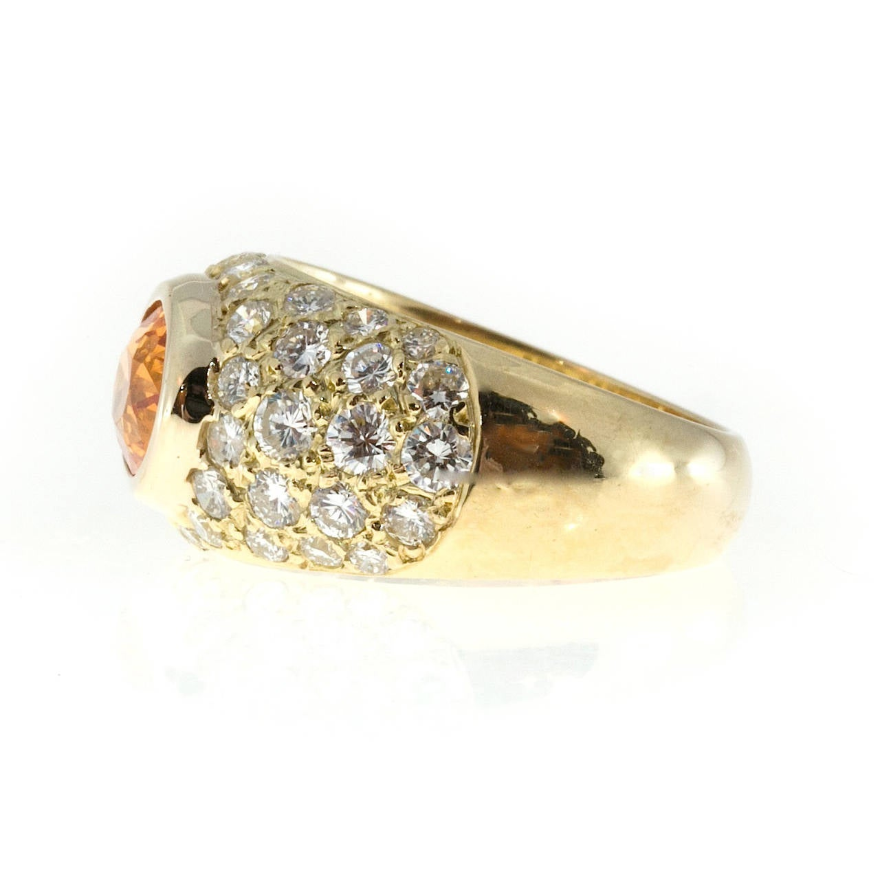 Spessartite Garnet Pave Diamond Gold Dome Ring 4