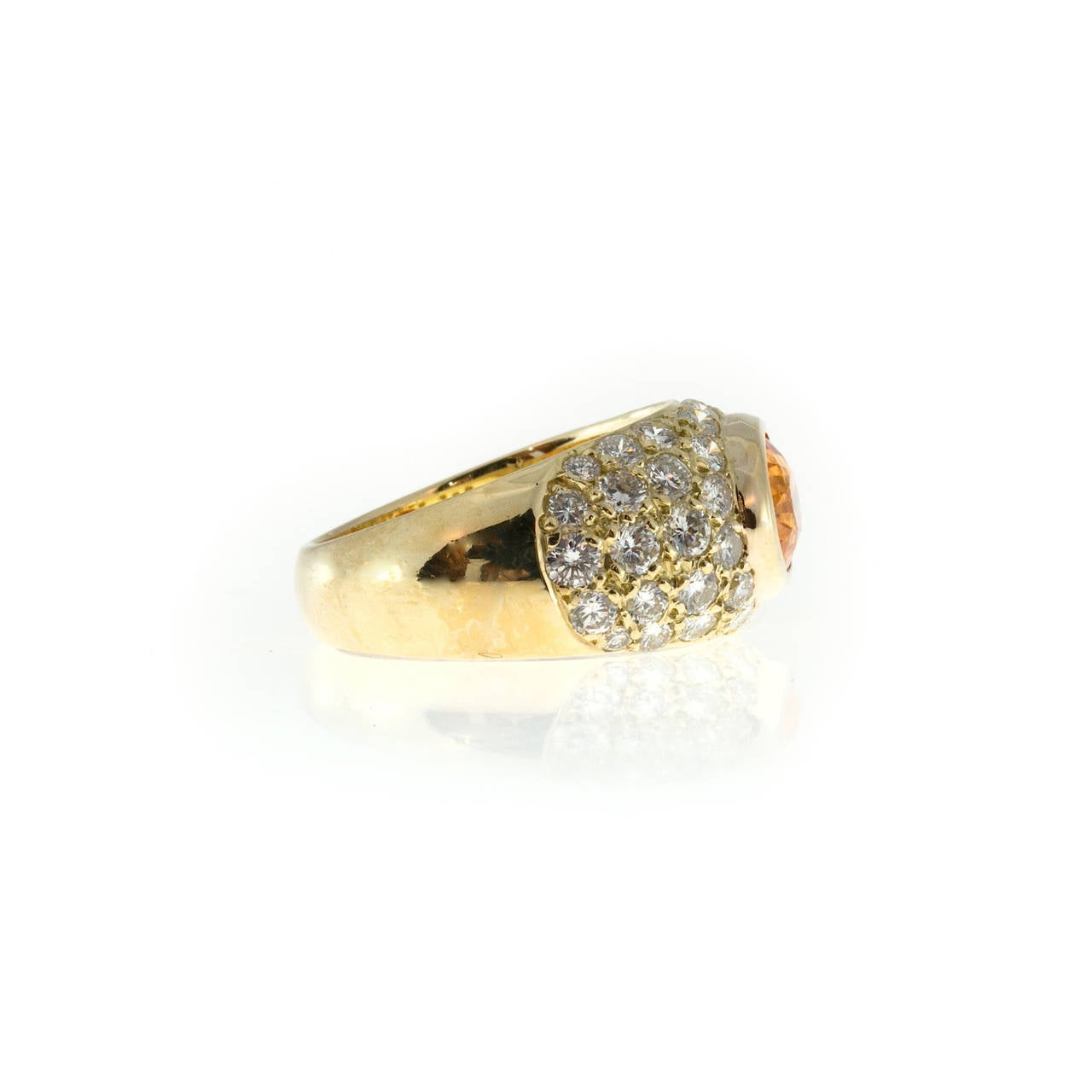 Spessartite Garnet Pave Diamond Gold Dome Ring For Sale 2