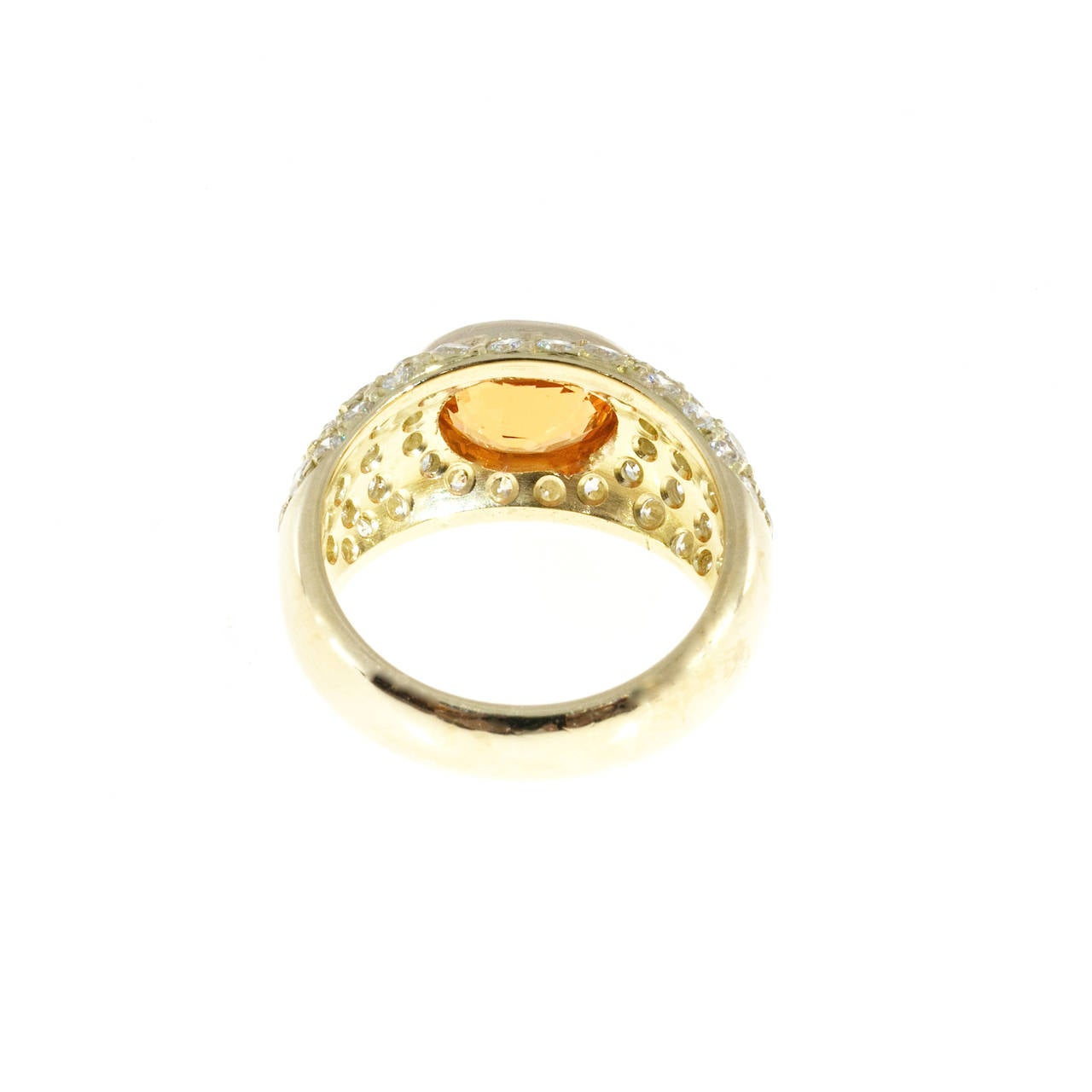 Spessartite Garnet Pave Diamond Gold Dome Ring For Sale 1