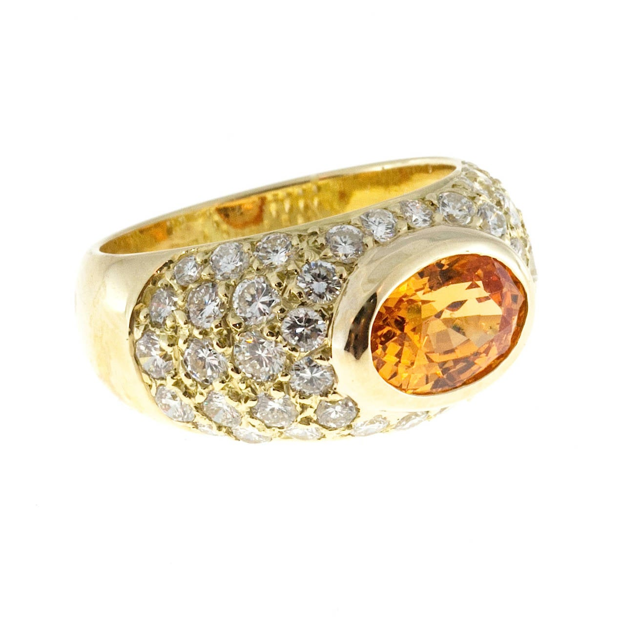 Spessartite Garnet Pave Diamond Gold Dome Ring In Good Condition For Sale In Stamford, CT