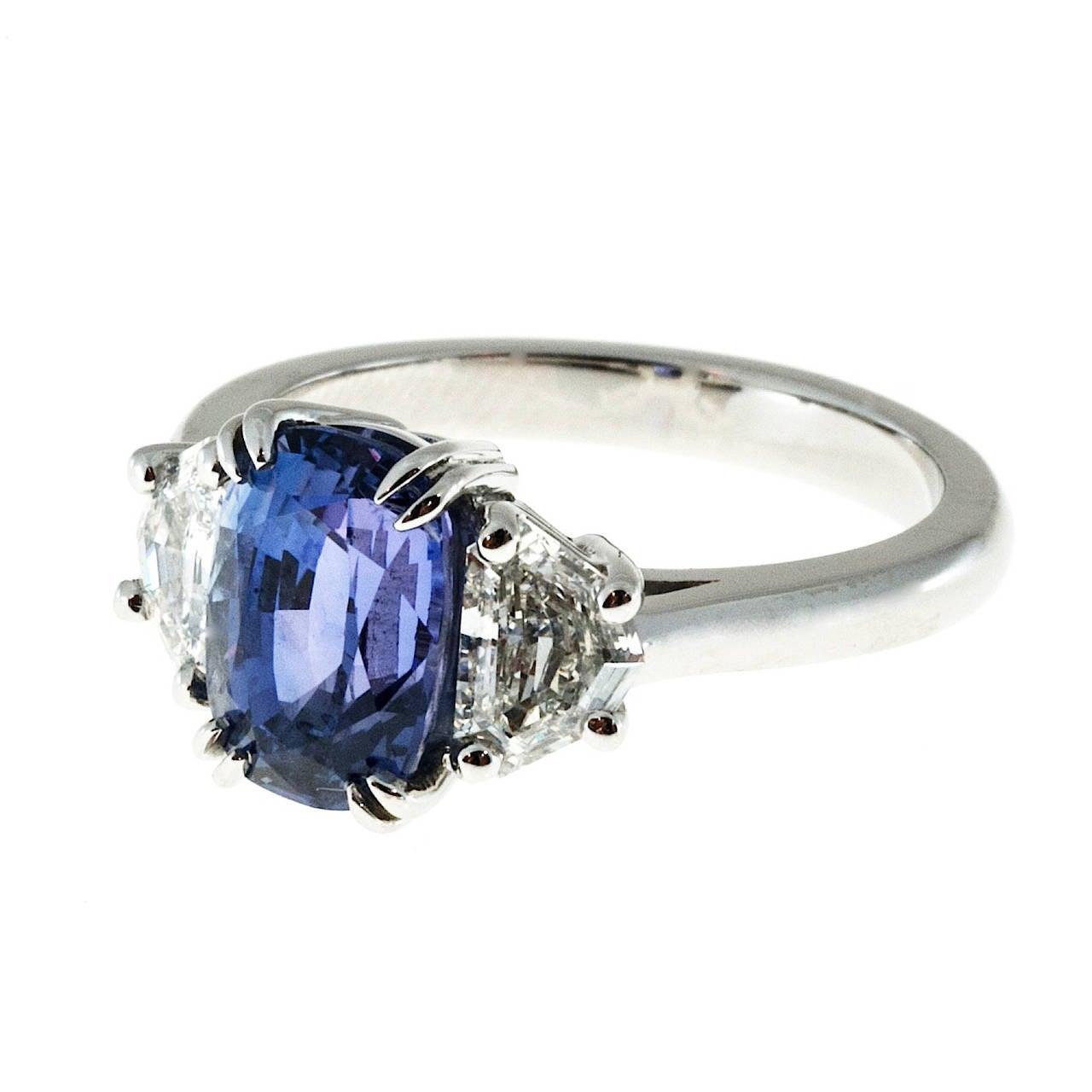 Peter Suchy GIA Cert Violet Purple Sapphire Diamond Platinum  Engagement Ring