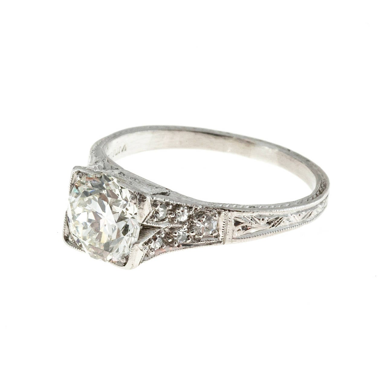 1930s  Diamond Platinum Engagement Ring 2