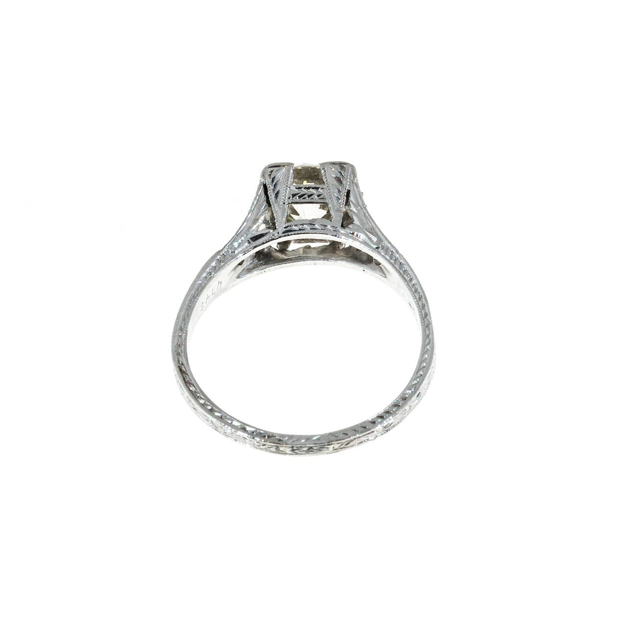 1930s  Diamond Platinum Engagement Ring 5
