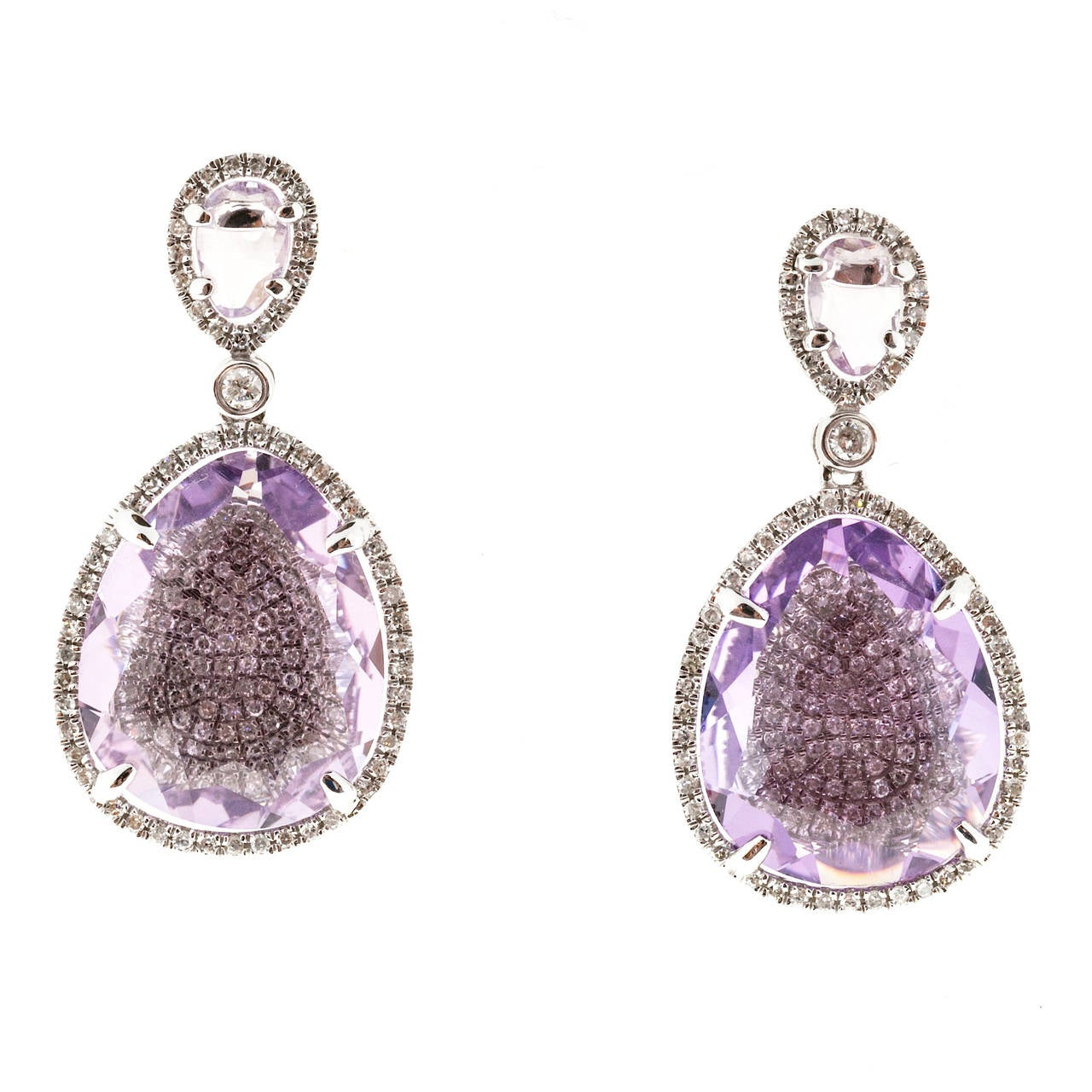 Beautiful White gold 14k dangle earrings totally handmade with 258 Micro Pave diamonds and genuine soft light purple Amethyst.