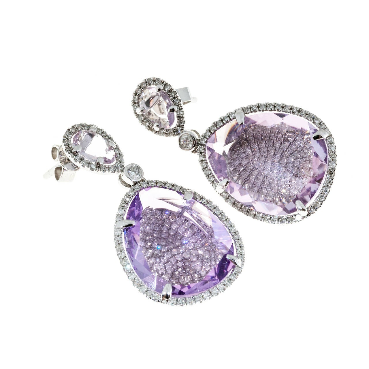Amethyst Micro Pave Diamond Gold Dangle Earrings For Sale 2