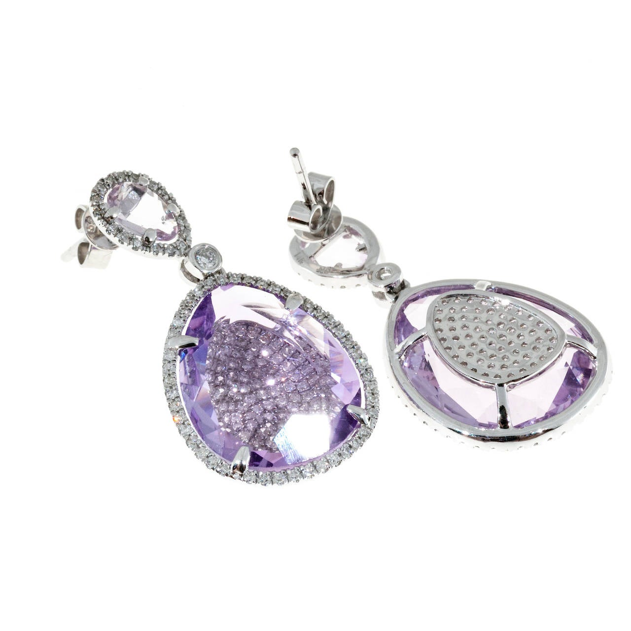 Amethyst Micro Pave Diamond Gold Dangle Earrings In Good Condition For Sale In Stamford, CT