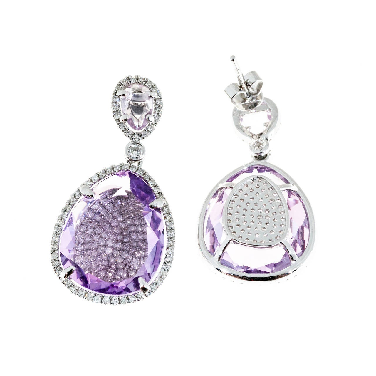 Amethyst Micro Pave Diamond Gold Dangle Earrings For Sale 1