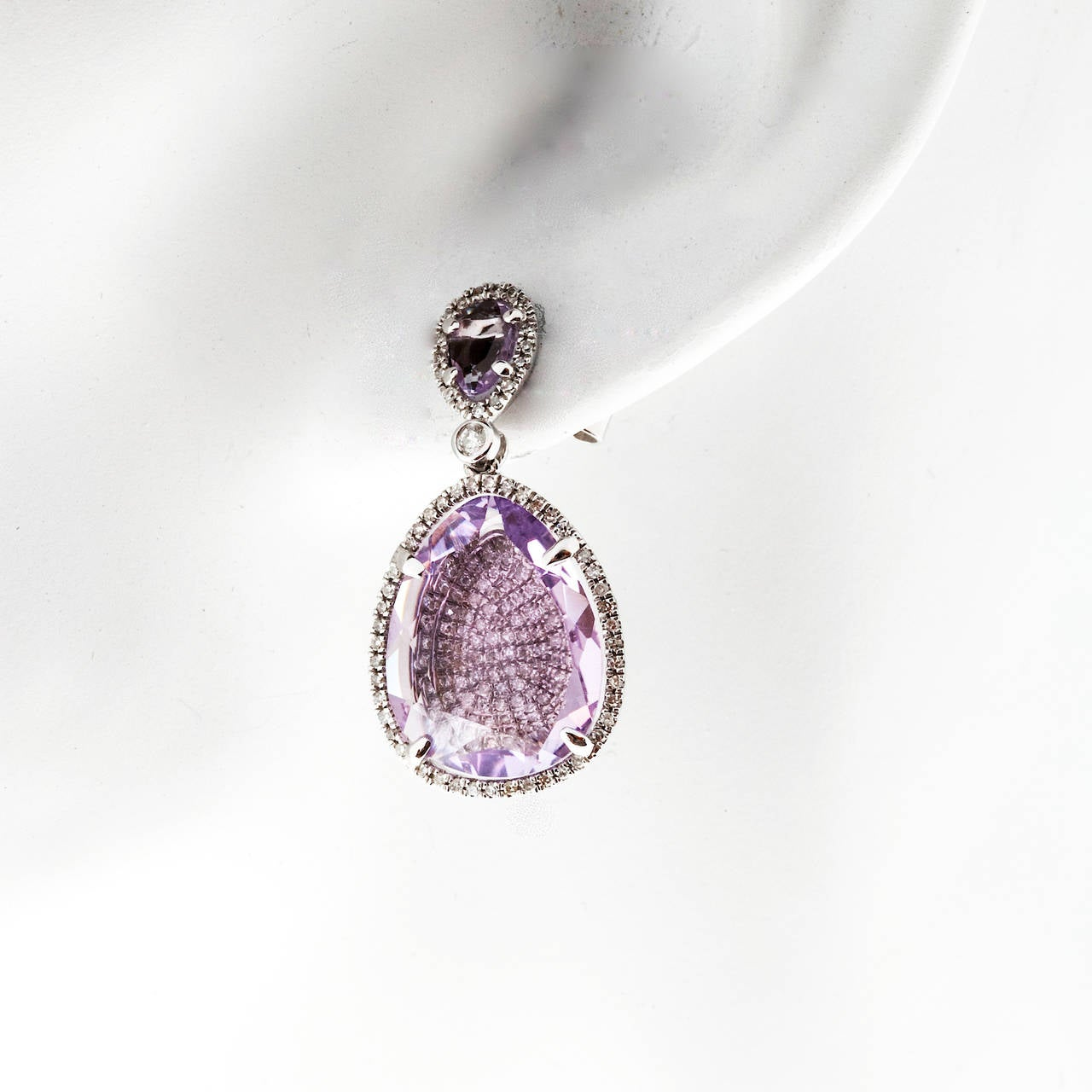 Amethyst Micro Pave Diamond Gold Dangle Earrings For Sale 4