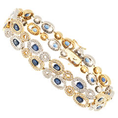 Oval Sapphire Diamond Two Color Gold Link Bracelet