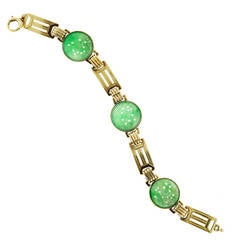 Art Deco Genuine Jadeite Jade Green Gold Carved Bracelet