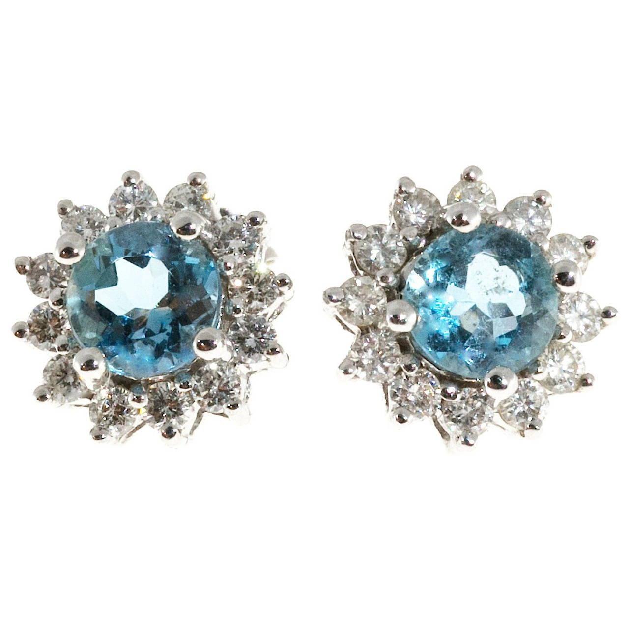 Natural Aquamarine Diamond Gold Cluster Earrings