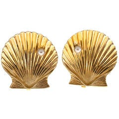 Tiffany & Co. Pearl Gold Shell Clip Earrings