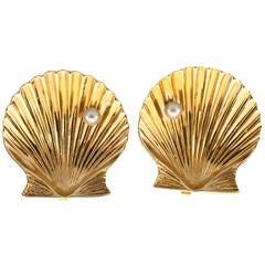 Tiffany & Co. Pearl Gold Shell Clip Earrings