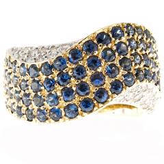 Blue Sapphire Diamond Gold Domed Swirl Ring