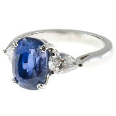 Peter Suchy Natural GIA Cert Blue Violet Sapphire Diamond Platinum Ring