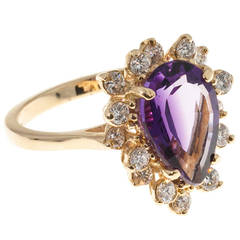 Pear Shaped Natural Amethyst Diamond Gold Cluster Ring