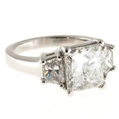 3.01 Carat GIA Cert Diamond Platinum Three Stone Ring