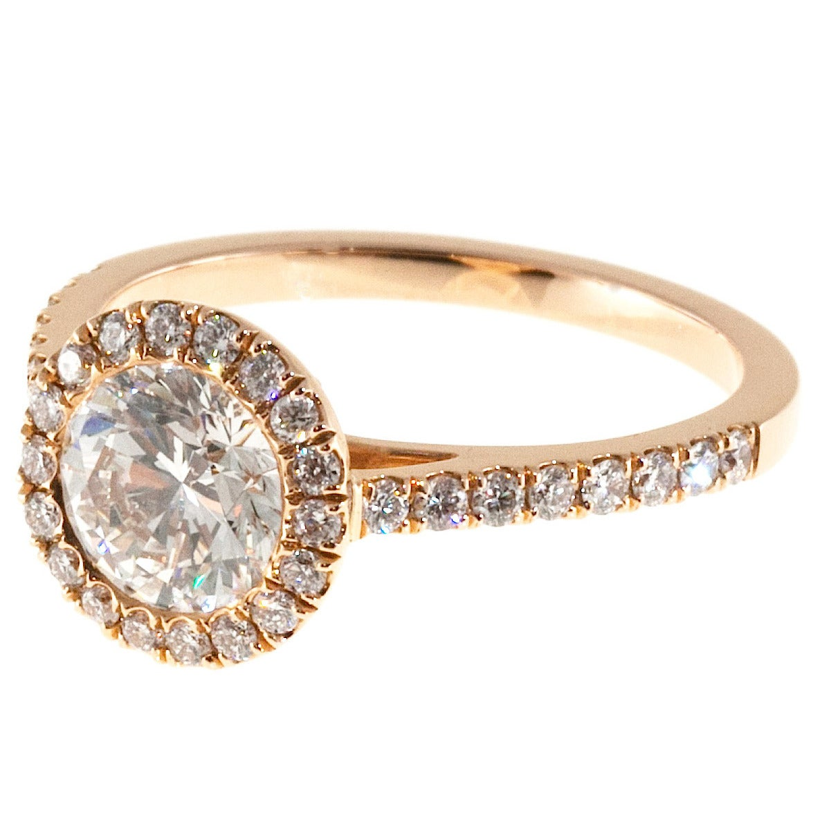 Peter Suchy GIA Certified 1.06 Carat Diamond Halo Rose Gold Engagement Ring 1