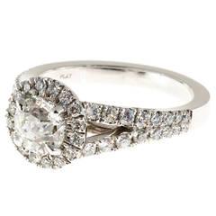 Peter Suchy 1.00 Carat GIA Cert Diamond Platinum Halo Engagement Ring