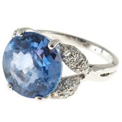 Art Deco Ceylon Sapphire Pave Diamond Platinum Ring
