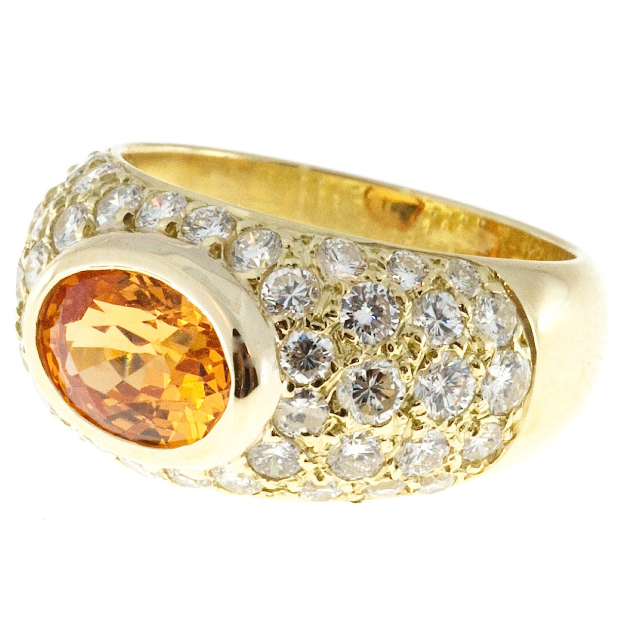 Spessartite Garnet Pave Diamond Gold Dome Ring For Sale