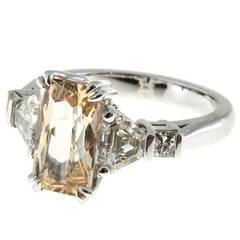 Orange Yellow Sapphire Diamond Platinum Engagement Ring