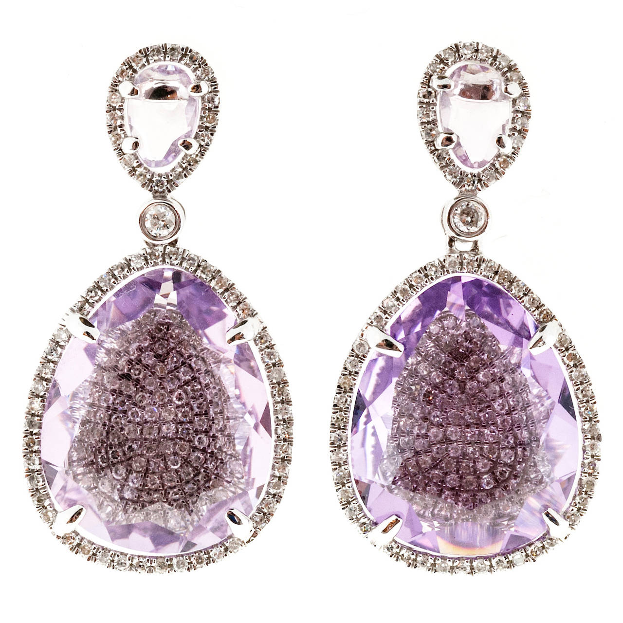 Amethyst Micro Pave Diamond Gold Dangle Earrings For Sale