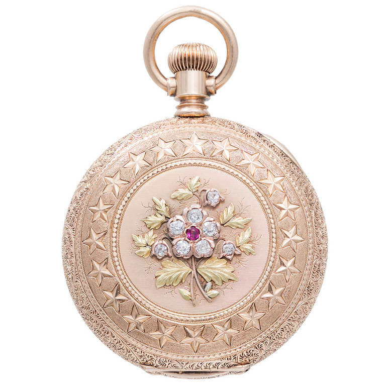 Agassiz Rose, Yellow and Green Gold Pocket Watch with Diamond and Ruby Accents 1