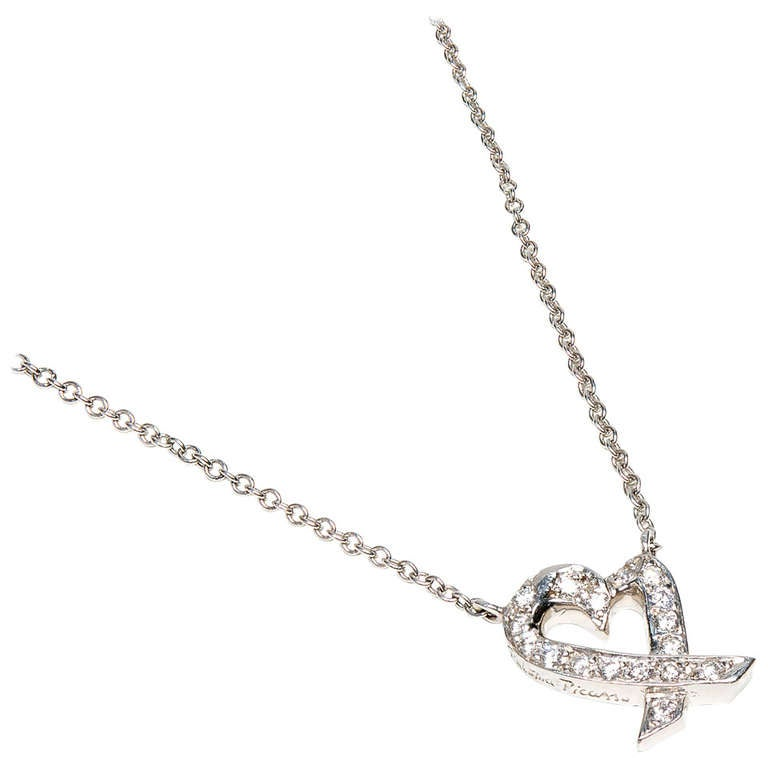 Tiffany & Co Paloma Picasso Diamond Heart Platinum Pendant Necklace