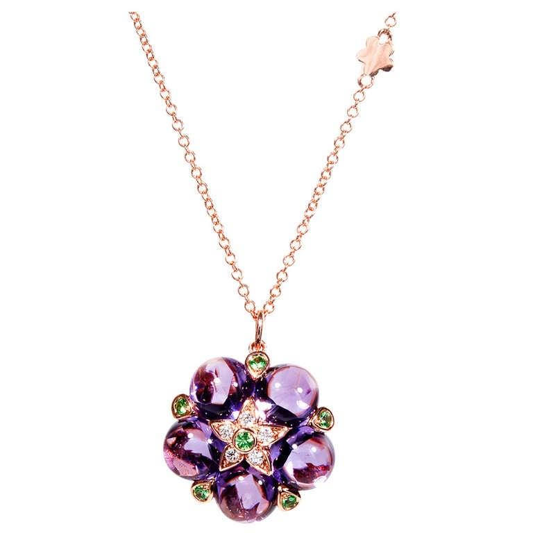 Cabochon Amethyst Garnet Diamond Rose Gold Pendant Necklace