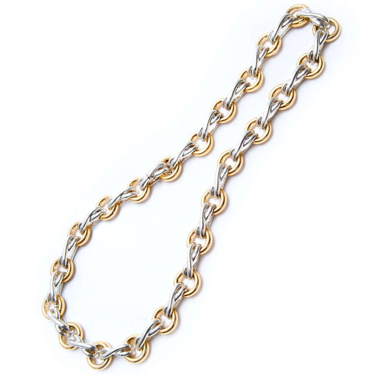 Tiffany & Co. Paloma Picasso Silver Gold XO Necklace In Good Condition For Sale In Stamford, CT