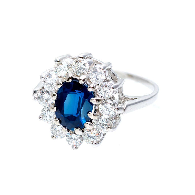 GIA Certified 1.63 Carat Blue Sapphire Diamond Halo White Gold Engagement Ring 2