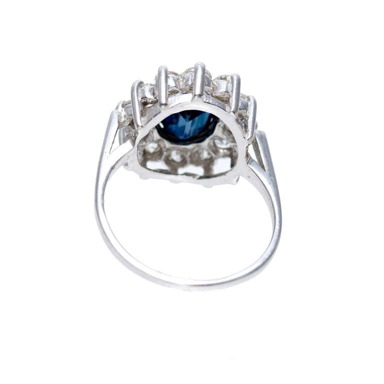 GIA Certified 1.63 Carat Blue Sapphire Diamond Halo White Gold Engagement Ring 4
