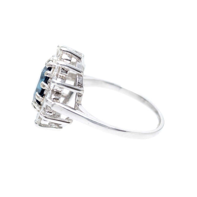 GIA Certified 1.63 Carat Blue Sapphire Diamond Halo White Gold Engagement Ring 5