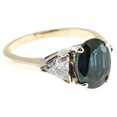 2.53 Carat GIA Cert Royal Blue Sapphire Diamond Two Color Gold Ring