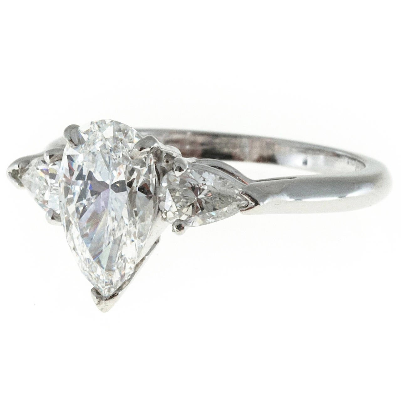 Pear Shaped 1 63 Carat Diamond Platinum Three Stone Ring For Sale at 1stdibs