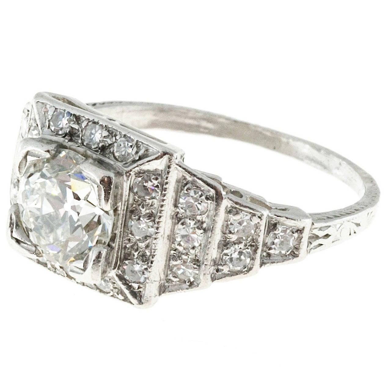 deco 1 11 carat platinum engagement ring