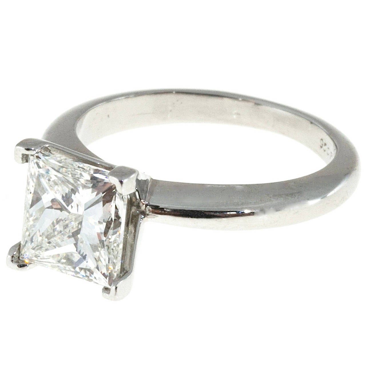 princess cut platinum engagement ring for sale at