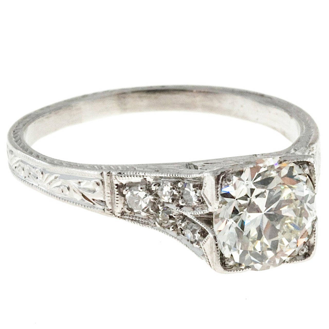 1930s  Diamond Platinum Engagement Ring 1
