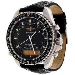Breitling Stainless Steel Navitimer Wristwatch with Analogue and Digital Display